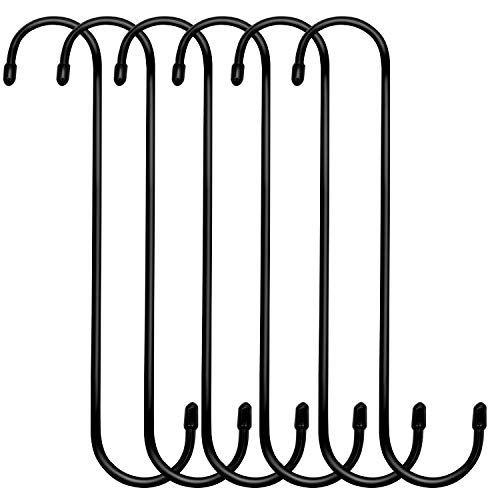 ESFUN 6 Pack 10 inch Extra Large S Hooks Black Heavy Duty Long S Hooks for Hanging Plant Extension Hooks for Kitchenware,Utensils,Pergola,Closet,Flower Basket,Garden,Patio,Indoor Outdoor Uses