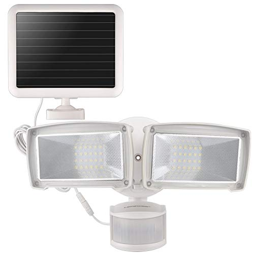 LEPOWER Solar LED Security Light, 950LM Outdoor Motion Sensor Light, 5500K, IP65 Waterproof, Adjustable Head Flood Light with 2 Modes Automatic and Permanent on, for Entryways, Patio, Yard (Renewed)