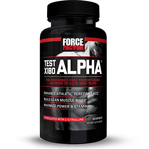 Test X180 Alpha Total Testosterone Booster for Men with Fenugreek Seed and Maca Root to Increase Blood Flow, Build Lean Muscle, Improve Male Athletic Performance, Force Factor, 60 Capsules