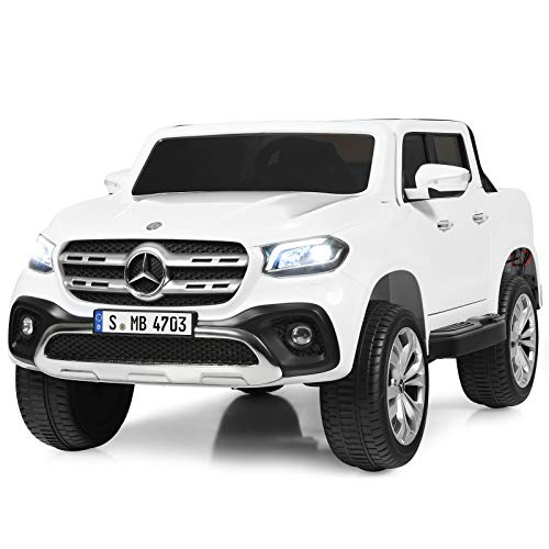 Costzon 2-Seater Ride on Truck, Licensed Mercedes Benz X Class Battery Powered Ride on Car w/ 2.4G Remote Control, 3 Speed, LED Lights, Horn, Music, Rocking Mode, Electric Vehicle for Kids (White)