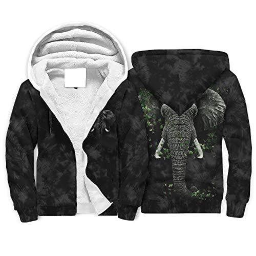 O3XEQ-8 Unisex Durchgehender Reißverschluss Vlies Sweatshirt Männer & Frauen Elephant Head face Muster Original - Kordelzughut Gemütlich Uniform für Bestfriend Present White XL