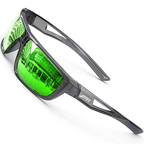 ATTCL Sport Occhiali Da Sole Polarizzati Per Uomini Ciclismo Guida Pesca 100% Protezione UV Trasparente/Verde a specchio M