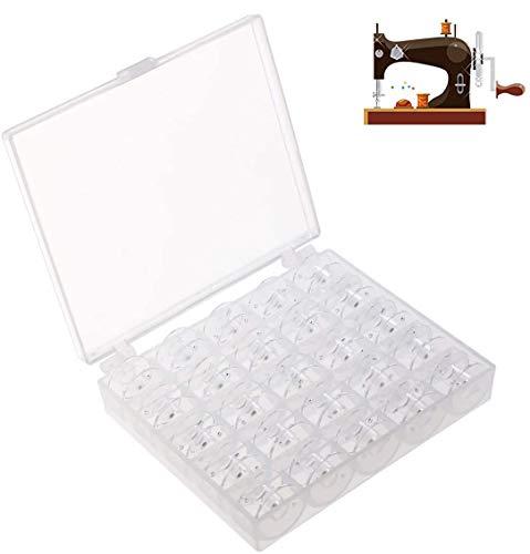 Cslada 25 bobinas de plástico para máquina de coser, incluye caja de almacenamiento, transparente