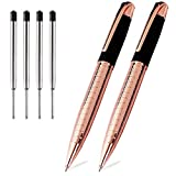 Obacle Rose Gold Pens with Black Ink Ballpoint Pen Retractable Metal Grip Executive Business Pens Ball Point Medium 1.0mm Nice Pen for Men Women (Rose Gold Pen, 2 Pack 4 Refills)