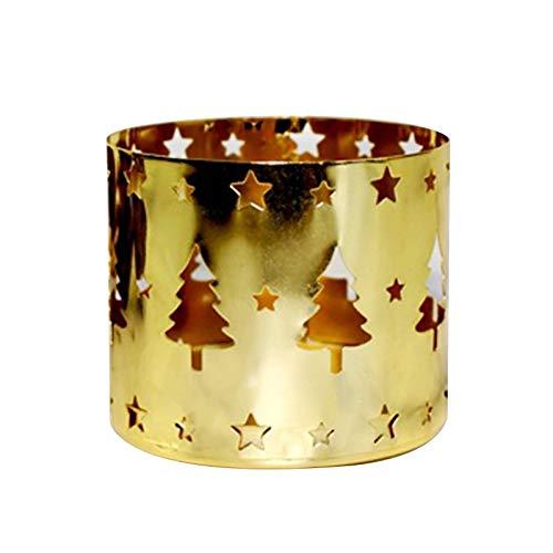 Ydh Weihnachts dekorativer Kerzenhalter Kreativer gerader hohler Eisenkerzenhalter - Weihnachts- und Wohnkultur - Tischdekoration für Halter für Esstisch- und Kaffeetischdekor (Schneeflockenmuster)