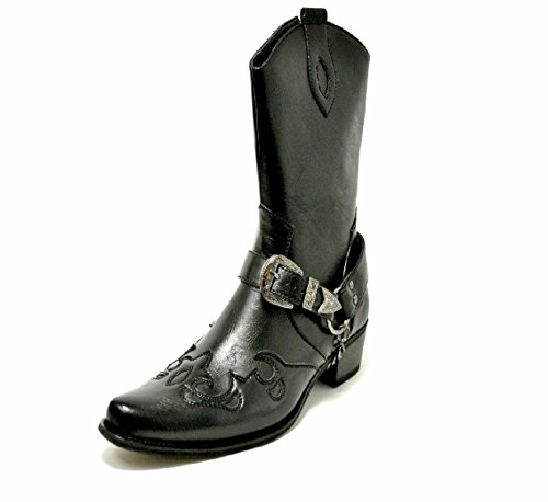 Buckle Mens Chain Cowboy Belt Western Boots Riding Leather7Black 7yfgbY6v
