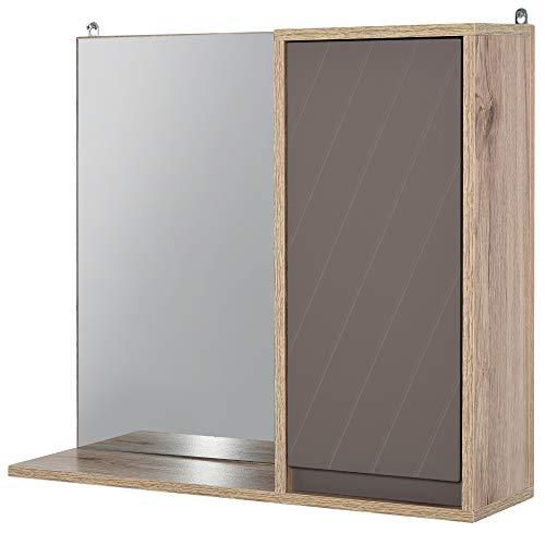 HOMCOM Spiegelschrank Badschrank Hängeschrank Badmöbel Wandschrank Mehrzweckschrank, Spanplatte+MDF, Grau+ Natur,57 x 14,2 x 49,2 cm