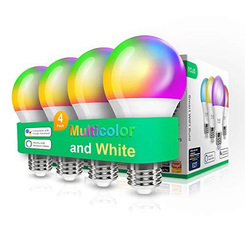Nous P3 bombilla Led inteligente wifi e27. Luz fria-calida regulable. RGB habitacion decoración luces. Alexa, Google home, Tuya smart life domotica accesorios. Bombillas colores 9w 800lm