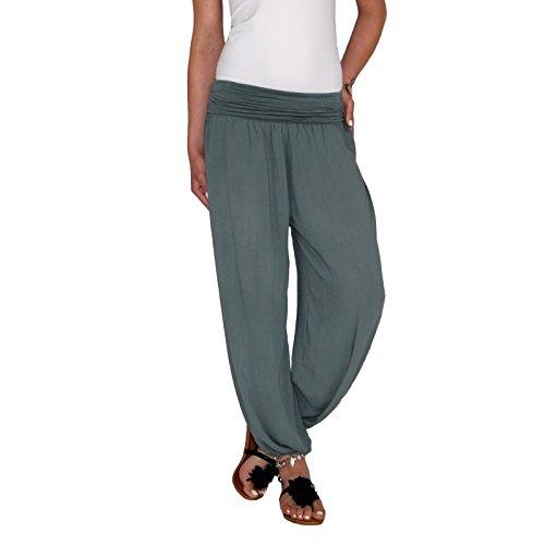 Dresscode-Berlin DB Damen Leichte Baumwoll Sommerhose mit Wasserfallbund in Taupe, schwarz, beige und Khaki (One Size, Khaki)
