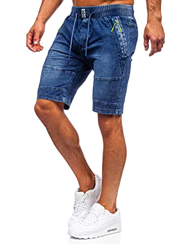 BOLF Uomo Pantaloni Corti Jeans Denim Strappati Bermuda Shorts Estivi Regular Fit Casual Style 6282 Blu Scuro M [7G7]