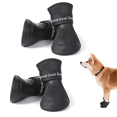 Scarpe per Cani Impermeabili con Protezione per Zampe Cane Bootscon Scarpe Antiscivolo Resistenti All abrasione e Robuste,per Animali Domestici (XL)