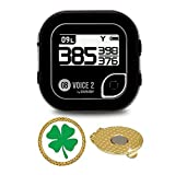 GolfBuddy Voice 2 Golf GPS/Rangefinder Bundle with Magnetic Hat Clip Ball Marker (Clover)