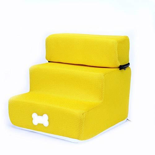 ZHTX Hunde-Treppen-Treppenhund-Treppen-Hundestufen-Treppenhaus-Treppenhaus (Color : Yellow, Size : Three Layers)