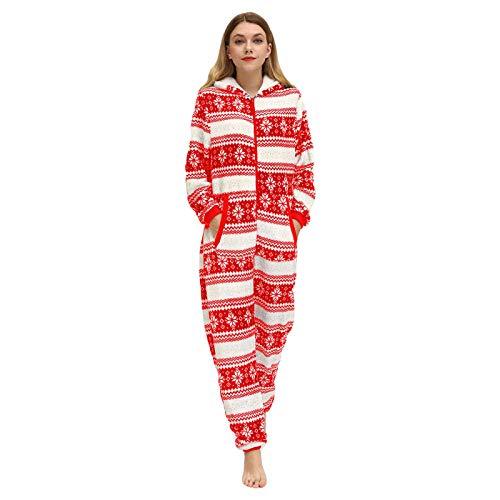 langchao Ladies one-Piece Pajamas Snowflake Fleece Pajamas Pajamas Onesie Pajamas