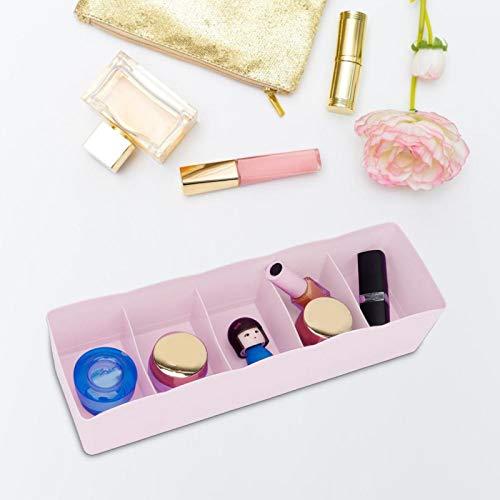 Diseño simple y compacto Divisor de cajón de 5 rejillas fácil de limpiar para el hogar(Pink)
