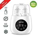 GORTES Baby Bottle Warmer, Deluxe Bottle Heater & Smart Thermostat 6 in 1, Intelligent evenly Warm Breast Milk or Formula, Real-time Temperature One-Touch LCD Monitor, Fast Heating New Style