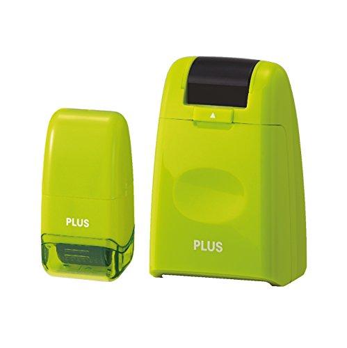 PLUS JAPAN IS-500CM & IS-520CM (GR) Datenschutz Textschwärzer, Rollstempel, zweiteiliges Sicherheits Set, grün