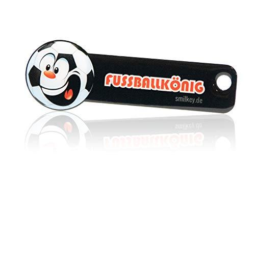 Einkaufswagenlöser Fußballkönig, Code24, Schlüsselanhänger mit Einkaufschip & Schlüsselfinder, inkl. Registriercode für Schlüsselfundservice, Einkaufswagenchip mit Profiltiefenmesser, Key-Finder