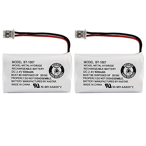 Uniden BBTY0651101 model BT1007 Nickel-Cadmium Rechargeable Cordless Phone Battery, DC 2.4V 500mAh (Pack of 2)