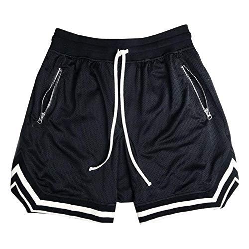 Shorts de Fitness d'été pour Hommes Pantalon d'entraînement Sportif en Maille de Couleur Unie pour Hommes à séchage Rapide et Respirant en Vrac