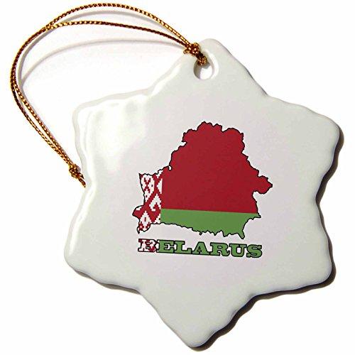 3dRose ORN_57052_1 Die Flagge von Weißrussland in der Umrisse Karte des Landes & der Name Belarus Schneeflocke Porzellan Ornament, 7,6 cm