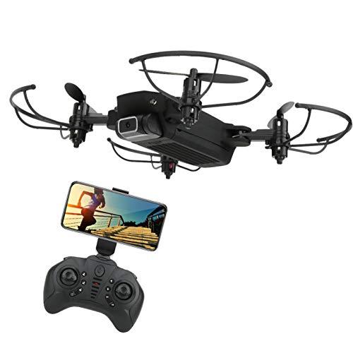 KUIDAMOS Quadcopter de tamaño pequeño, Juguete Educativo de Vuelo Estable, Mini dron Plegable para Amigos/Familia/niños/niñas(Black, 480P)