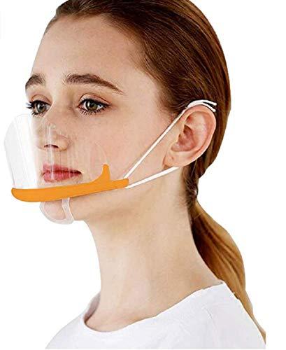 MINASAN 10 Stück Transparente Offene Maske/Mundschild, Food Handler Maske, Professionelle Transparente Gesundheitsschutzmaske Für Restaurant, Permanent Make-up, Catering (orange, 14 * 10.5CM)