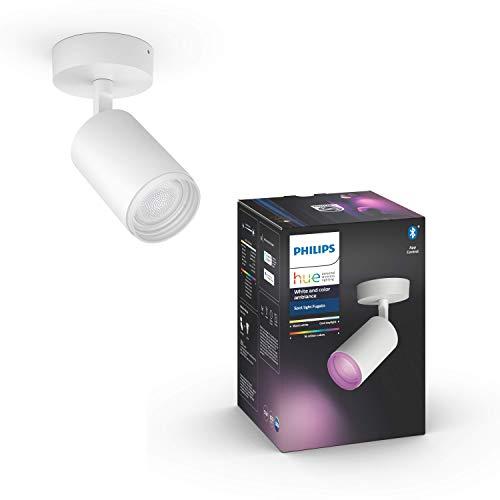 Philips Hue White & Col. Amb. Bluetooth 1-er Spotleuchte Fugato, LED GU10, weiß, dimmbar, 16 Mio. Farben, steuerbar via App, kompatibel mit Amazon Alexa (Echo, Echo Dot)