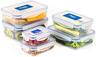 Large Food Storage Containers Set, Airtight, Stackable, BPA Free Plastic, 100% Leak Proof - Lunch Box, Meal Prep, Microwave, Freezer & Dishwasher Safe - The Stackit! Set,