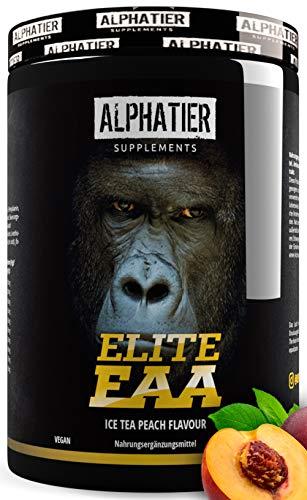 EAAs Poeder 500g Perzik Ijsleer - MAXIMUM DOSE - alle essentiële aminozuren - Smaak EAA Ijsleer Perzik - Alphatier - Essentieel Aminozuurpoeder