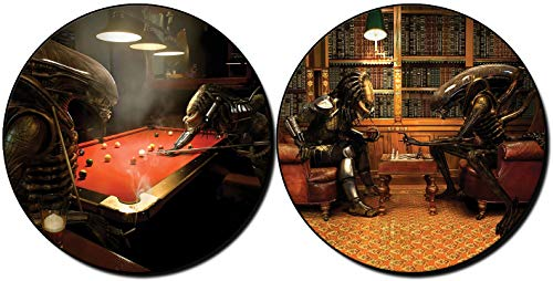MasTazas Alien Vs Predator Jugando Billar Playing Pool AVP Ajedrez Chess Posavasos x4 Coasters