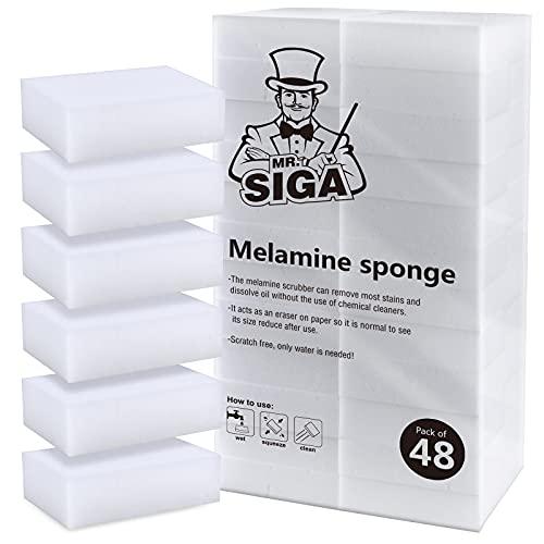 MR.SIGA Melamin Dreckradierer W&erschwamm Reinigungsschwamm Zauberschwamm Für Küche Haushalt, 48 Stück, Größe: 8 x 5 x 2.5cm