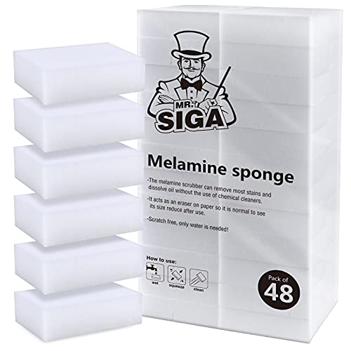 MR.SIGA Multi-Functional Eraser Sponge, Magic Cleaning Pads for Kitchen Household Cleaning, 48 Count, Size 3.1' x 2' x 1'