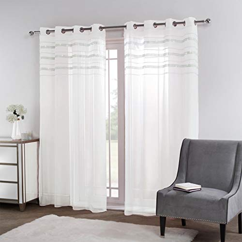 Sienna Latina Pair of 2 x Diamante Glitzy Voile Net Curtains Eyelet Ring Top Window Panels, Pure White - 55' wide x 87' drop