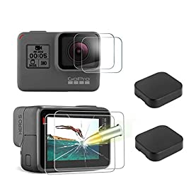 [6 pack] tempered-glass screen protector for gopro hero 7 (black only) / hero 5 black hero 6 black (2-pack) & lens… 1 designed for gopro hero 5/6 black. Precise laser cut designed specifically to offer max body coverage. Greatest protection: extremely high hardness,resists scratches up to 9h tempered glass with long lasting protection. 99. 99% hd clarity and touchscreen accuracy: high-response, high-transparency.