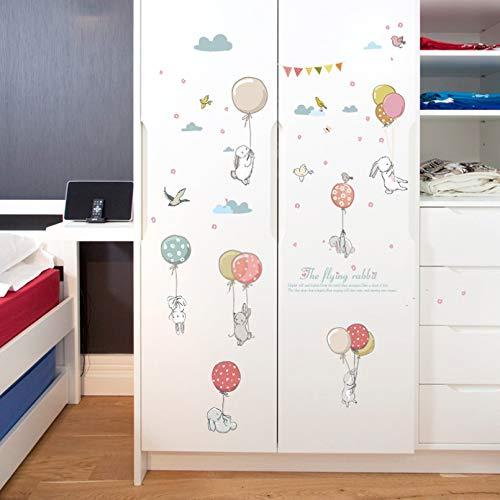 FGFDHJ Tecknad ballong kanin väggklistermärke för barnrum sängbord garderob tapet dekoration väggdekor konst dekaler barnkammare klistermärken