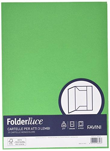 Favini A50D434 Luce&Acqua Cartelline in Cartoncino 3 Lembi, green, 25 Pezzi