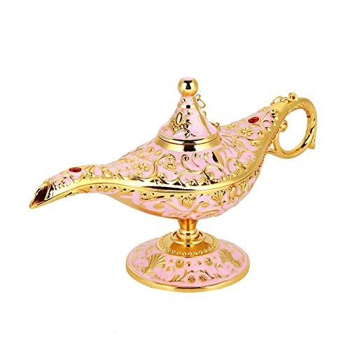 Lampara de Aladin,Genio de la lampara,Dorado Lampara de Aceite Magica de Aladdin de Aleacion de Metal Forma de Tetera con Tallado Retro Decoracion del Hogar(Rosado)