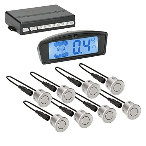 VSG24 22146 - Premium Combi Set Delantero/Trasero Incl. 8 Sensores, Pantalla a Color y Señal Acústica, Sistema de Ayuda al Aparcamiento Automático - Plata