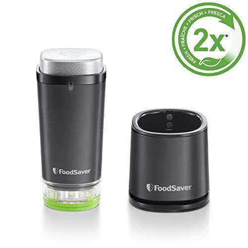 Foodsaver VS1192X Handheld, kabelloser und aufladbarer Vakuumierer für Lebensmittel mit Ladestation, 1 Frischebehälter & 5 Frischebeutel, schwarz