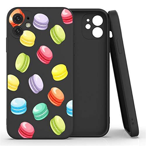 Mixroom - Cover Custodia per iPhone 7 Plus in Silicone TPU Opaco con Bordi Piatti Colore Nero Fantasia MACARONES Dolci 308