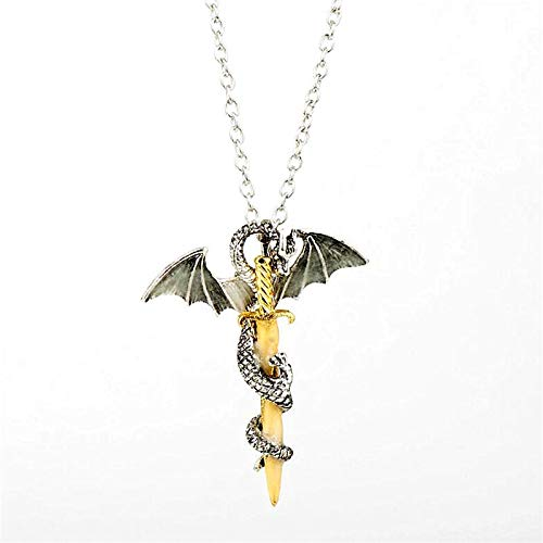 YUNMENG Collar con Colgante de Espada de dragón Luminoso para Hombre y Mujer, Accesorios, Cadena de joyería Punk, Collares y Colgantes