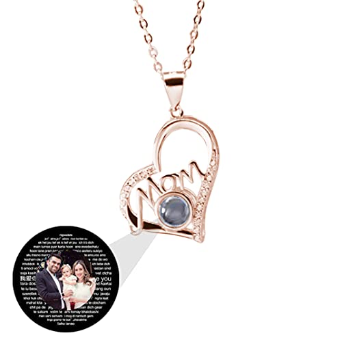 Mom I Love You 100 Languages Projection Necklace 925 Sterling Silver Photo Locket Necklace Mother's Day Birthday Anniversary Necklace Bracelet for Women(Rose gold Full Color 14')