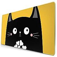 団子dadabuliu マウスパッド 大型 ゲーミング でかい キーボードパッド 猫 黄色 黒猫 ネコ キュート 萌え アニメ ゴム底 光学マウス ゲーム 特大 40cm×75cm 滑り止め エレコム 耐久性が良い おしゃれ かわいい 防水 サイバーカフェ オフィス最適 適度な表面摩擦