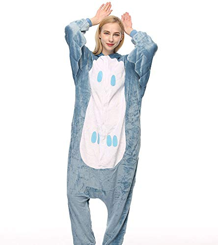 NEE Animals Pajama Plush Onesie Cartoon Cute Warm Cosplay Sleepwear Unisex Adults Long Sleeves Autumn Winter Hooded Jacket,Gray,XL