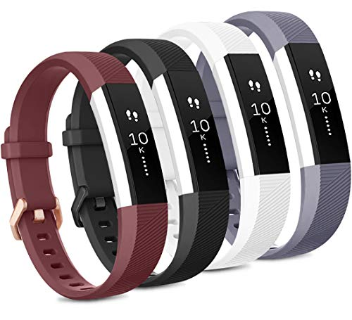 Tobfit 4 Pack Bands Compatible with Fitbit Alta Bands/Alta HR, Soft TPU Classic Accessories Replacement Bands (Small, Black/Gray/Wine red/White)