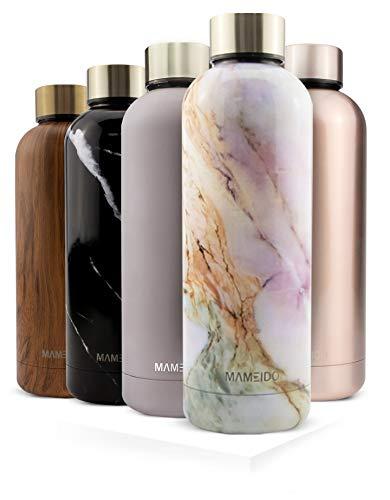 MAMEIDO Trinkflasche Edelstahl - Marmor Rosa - 750ml, 0,75l Thermosflasche - auslaufsicher, BPA frei - schlanke isolierte Wasserflasche, leichte doppelwandige Isolierflasche
