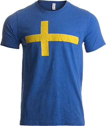 Swedish Flag | Vintage Style, Retro-Feel Sweden Flag & Kronor Unisex T-Shirt-Adult,L Heathered Royal