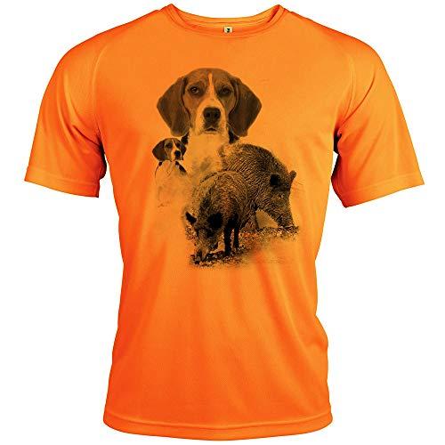 t Shirt - Chasse, diseño de jabalí y beaggle [con texto personalizable], Hombre, color fluo, tamaño extra-large