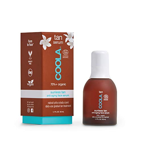 COOLA Organic Sunless Tanner Serum, Self Tan Face Serum for Anti-Aging and Skin Care, Piña Colada, 1.7 Fl Oz